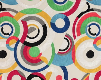 JACK LARSEN EMBROIDERED Retro Art Deco Circles Fabric 10 Yards Red Blue Green Black Multi