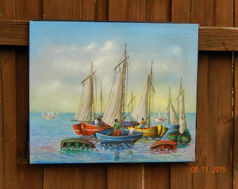 Haitian Painting by Souvenain Wilkens, Two Boys and Boats
