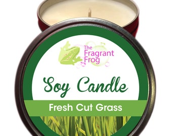 Fresh Cut Grass Scented 100% Soy Wax Candle approximately 40 + hours burn time.