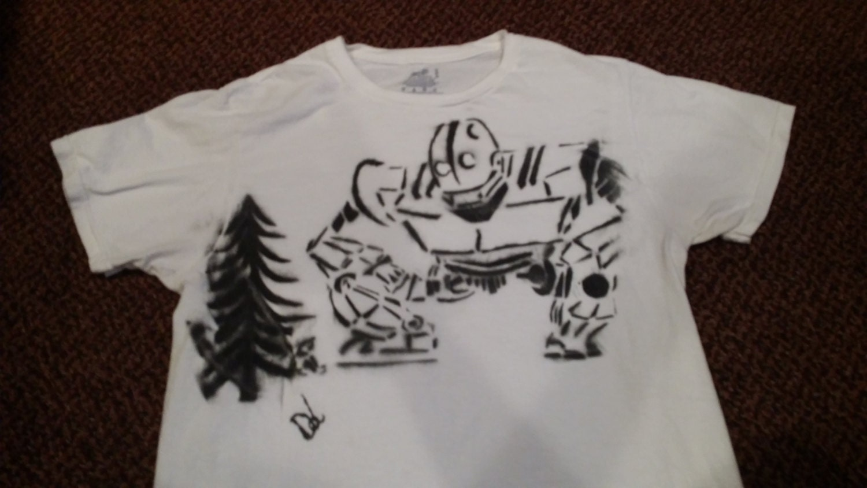 iron giant custom spray paint t shirt