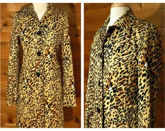 Women's coat, leopard coat, leopard print coat, maxi coat, leopard overcoat, long coat, animal print coat, ladies coat, Worthington Stretch