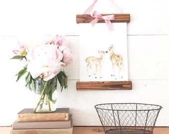 Rustic Frame Baby Deer Canvas Print- Woodland Animal Painting - Baby Deer Painting - Baby Room Decor - Fawn Painting - Baby Girl Room Decor