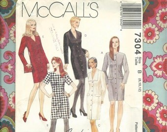 McCalls 7304 Fashion Basics Misses Fitted Button Front Dress Pattern Petite-able Complete and Uncut