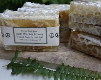 VELVET TOUCH -- Goat's Milk, Oats & Honey Homemade Bar Soap by Simply Soul Soap