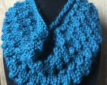 Blue Knit Infinity Scarf   Oceanic Blue   Mermaid Knit Colw