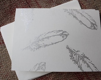 Silver feather card set- 3 cards and envelopes - Hand stamped cards - Handmade cards - Nature cards - Bird cards - Feather stationary set