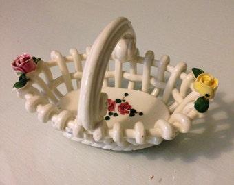 Vintage Porcelain Weaved Basket with Roses