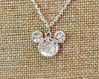 Rhinestone Mickey Mouse Head Necklace