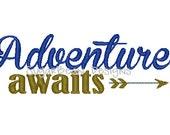 Adventure Awaits Arrow Machine Embroidery Design. Hat Embroidery Design