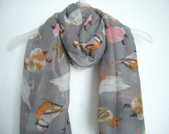 Bird Scarf, Grey Multi Colour Bird Scarf , For Her, Spring Summer Scarf, Nature Accessories