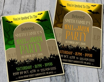 Graveyard  Halloween Party Invite (Printable)