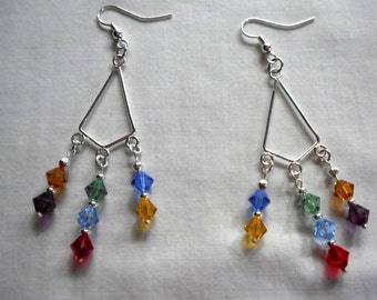 Earrings Handmade Chandelier CHAKRA Health of Mind and Body Swarovski Crystal Healing, Yoga, Serenity
