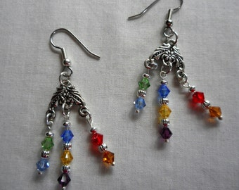 Swarovski Crystal Chakra Chandelier Earrings Handmade for Healing of Mind and Body  Meditation and Serenity