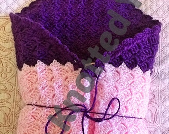 Pink and Purple Hooded Swaddling Blanket