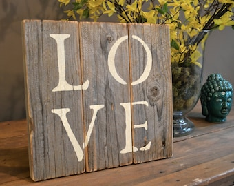 Hand Painted 'Love' Sign Made From Reclaimed Shipping Pallets