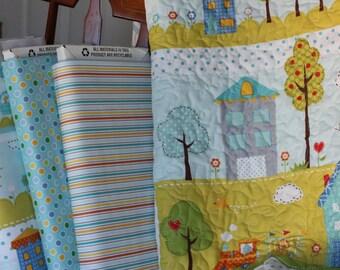 "Item # K1002B Blue ""Happi"" Baby Quilt Kit"