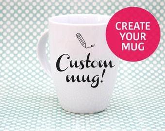 Benutzerdefinierte Becher, weiße Keramik Tasse - Hand verziert! Einzigartige, bemalten Tee Kaffeetasse.