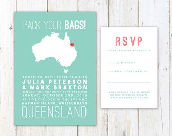 Australia Wedding Invitation, Destination Wedding Invitation, Australian Map Wedding Invitation