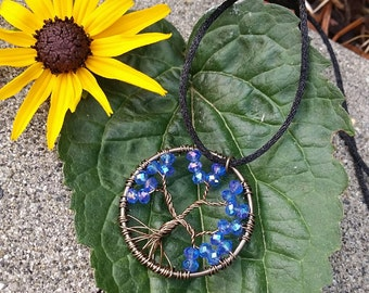 Handmade Blue Tree of Life Necklace