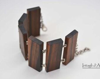 Handmade Macassar Ebony wooden bracelet