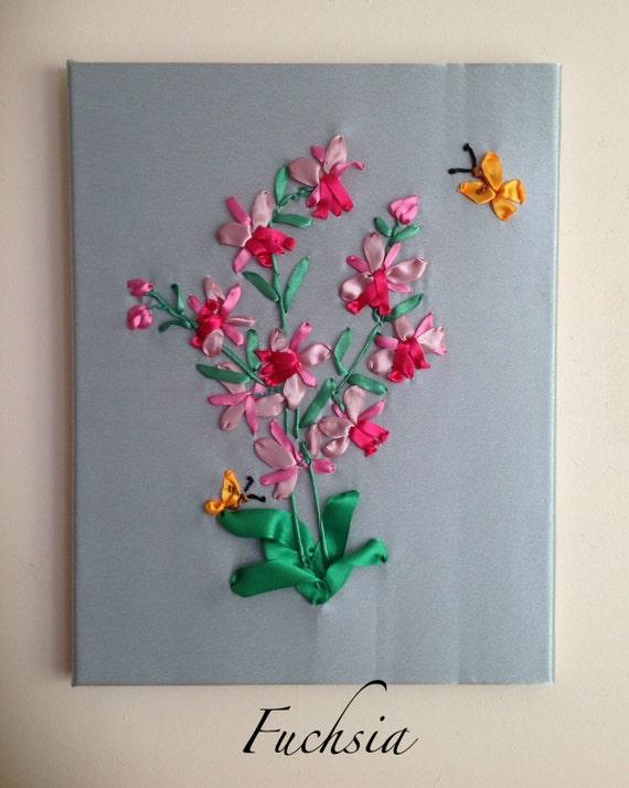 Fuchsia ribbon embroidery wall décor art in