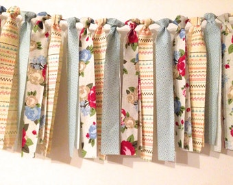 Vintage style Garland of cloth, made of strips of cloth banner