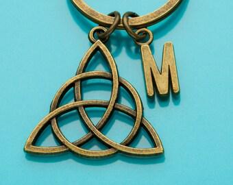 Celtic Knot Keychain, Bronze Celtic Knot Key Ring, Irish Knot, Initial Keychain, Personalized Keychain, Custom Keychain, Charm Keychain, 576