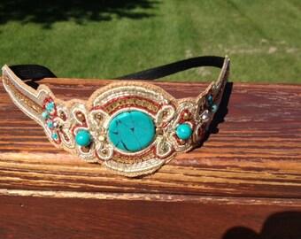 Beaded Headband // Turquoise Stone & Burnished Gold Headband // Handmade // Boho Headband // Hair Accessory