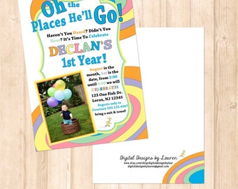 Dr Seuss Birthday Invitation // Oh The Places You'll Go // Dr Seuss Themed Birthday // PRINT YOUR OWN