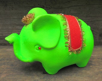 Day Glo Neon Green ELEPHANT BANK with red gold trim Vintage 1970s