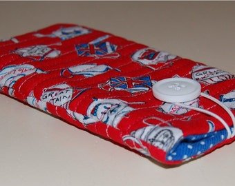 Travel, quilted fabric phone cover. Cell phone case, iphone case, red and blue British teapots