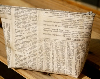 Newspaper Dictionary Print Zippered Makeup bag, cosmetic bag, pencil pouch.