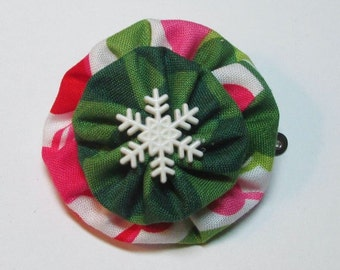 Christmas Polka Dot YoYo Hair Clip, Snowflake, Polka Dots, eclectiKIDS