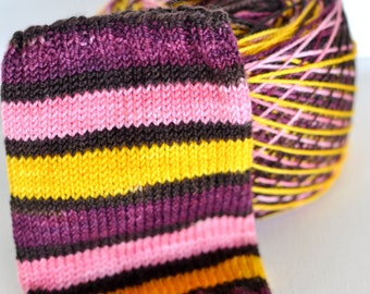 Discontinued Colorway Hand Dyed Self Striping Yarn/Yellowstone Base - Wine Country