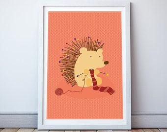 Born to knit Print - Nursery Decor, Kids Wall Art