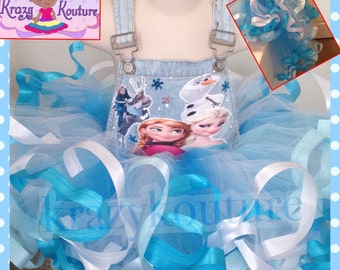 Frozen themed ribbon trimmed overall tutu set