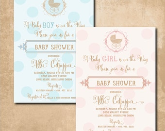 Vintage Baby Shower Invitation printable/Digital File/boy baby shower, girl baby shower, baby carriage/Wording & Colors can be changed