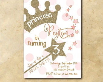 Princess Birthday Invitation printable/Digital File/princess party, gold and pink, gold glitter, wand, girl birthday/Wording can be changed