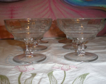 Pressed Optic Block Coupe Glasses Vintage 1930's Champagne Sherbet  Drinkware Serving Dining Dessert Barware Collectible- KM017