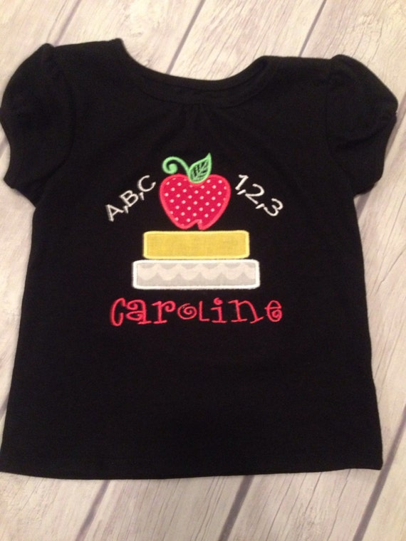 Custom monogrammed appliqu back to school shirt for Applique shirts for sale