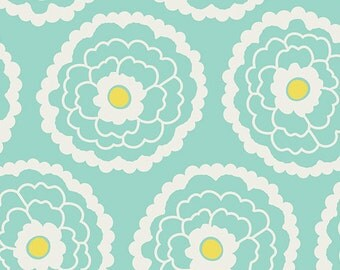 Large Vintage Floral on Aqua Fabric - Girl About Town in Mint by Pat Bravo for Art Gallery - Fabric By the Half Yard