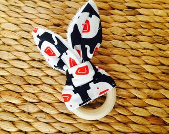 Bunny Ear Wooden Teething Ring!