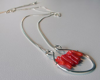 Red Coral Beaded Wire Pendant on Silver Chain