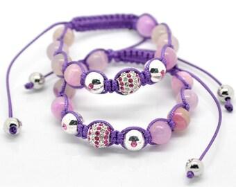 Purple Agate Pink Rhinestone Macramé Shamballa Bracelet 7-10 Inches Adjustable