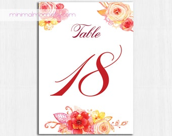 Table Numbers, autumn flowers, floral table numbers, PRINTABLE table numbers, roses table number, red flower table numbers, red, orange, tan