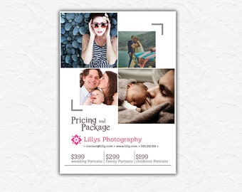 Photography Session advertising Template - Price List - Photography Marketing - Photoshop template INSTANT DOWNLOAD