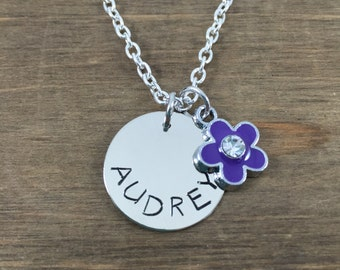 Personalized Flower Necklace - Hand stamped Necklace - Birthday Gift - Little Girl Gift - Rhinestone Flower Necklace