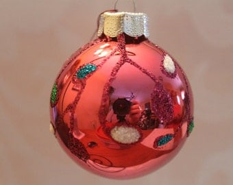 Rose Pink Ornament with Multi Color Decorations #518