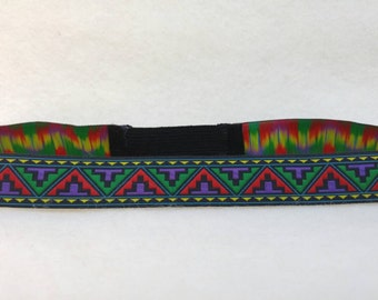 Mens Hippie Boho Headband- purple red green and black festival Burning Man hairpiece 70s headbands Native American Indian tribal Aztec print