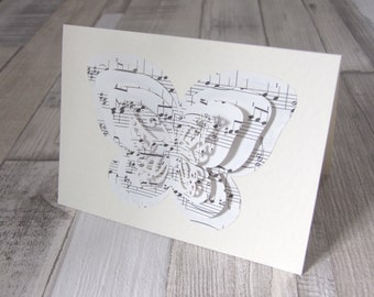 """Reclaimed """"J.S Bach"""" Classical Sheet Music 3D Effect Butterfly Card With Matching Envelope"""
